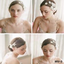 Vintage Ivory Bridal Wedding Face Veil Floral Birdcage Fascinator Face Veil WV3