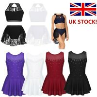 UK Girl Lyrical Dance Dress Lace Two Pieces Outfit Ballet Leotards Skating Dress