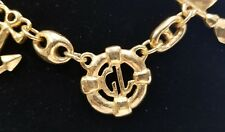 Guy Laroche STATEMENT Necklace NAUTICAL ANCHOR Gold PLATE RUNWAY Vintage Estate