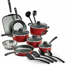 Nonstick Pots And Pans 18 Piece Kitchen Cooking Set Utensil Frying Cookware Red