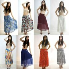 Full Length Chiffon Casual Floral Skirts for Women