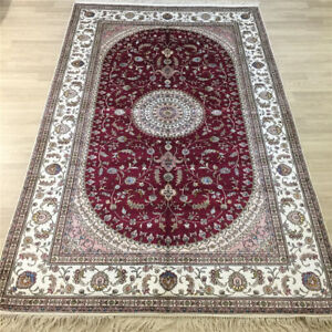 YILONG 5'x8' Handwoven Silk Carpet Home Interior Medallion Floral Red Rug Y048C