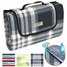Beautissu Bellaka Picnic Blanket Waterproof Backing 200 X 200 Cm Large Grey Tart