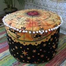 Indian Mandala Ottoman Pouf Round Footstool Pouffe Large Hippie Floor Pouf Cover