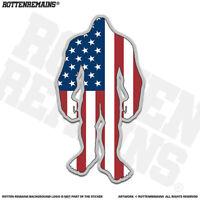 United States Flag Bigfoot Decal Sticker USA Sasquatch Big Foot Skunk Ape apr