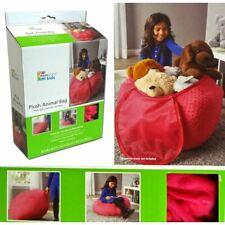 Kids Plush Animal Storage Bag Storing Stuffed Animals Bean Bag Chair Soft Pink W