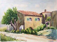 Grande aquarelle Provence Marseille signée M Cobourg
