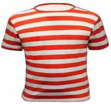 MEN'S BOYS WHERES WALLY RED AND WHITE STRIPED TSHIRT TOP BLACK BLUE SHIRT FANCY