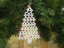 """White Tatted CHRISTMAS TREES by Dove Country Tatting 5"""" Tall Gift Tag Decoration"""