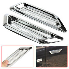 2pcs Chrome Car SUV Air Flow Fender Side Vent Decor Stickers Accessory Plastic