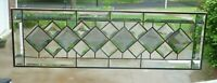 Beautiful Clear & Gray Diamond Beveled Stained glass Transom!