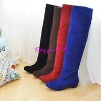 Lady Womens Knee High Boots Riding Faux Suede Cuban Heels Slouch Pull On Winter