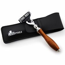 Men's Shaving Triple Edge wooden razor with Leather Pouch Perfect for Deep Shave
