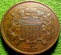 1867 Two Cent Piece 2c ~BETTER DATE~ A NICE HIGHER GRADE w/ SOLID DETAILS ~ 52VN