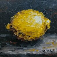 "Yellow lemon 6"" by S. Lee Mark - Stil life oil painting Fruit art small artwork"