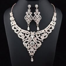 Sexy Vine Gold Clear Austrian Rhinestonel Necklace Earrings Set Bridal Prom N30