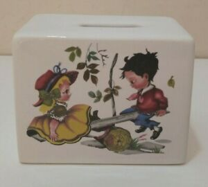 Vintage 1970s MONEY BOX Ceramic Kitsch See-Saw Nursery Rhyme Children Cute