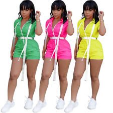 New Women Buckle Zipper Short Sleeve Turn Down Collar Casual Sport Club Jumpsuit