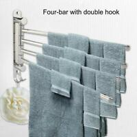 304 Stainless Steel 4-swivel Towel Rack Bar Rod Rail Holder Bathroom Kitchen