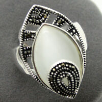 White Opal Marcasite 925 Sterling Silver Drop Ring Size 7/8/9/10