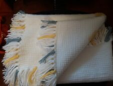 VTG Hand knit/crochet baby blanket throw Elephant outline stitched yellow grey