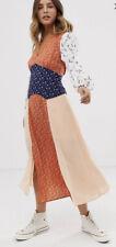 Asos Maxi Dress Glamorous Patchwork Hippy Boho Retro Vintage Style Size 12 New