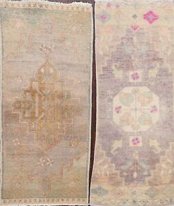 Set of 2 Vintage Muted Geometric Anatolian Turkish Area Rug Wool Handmade 2'x3'