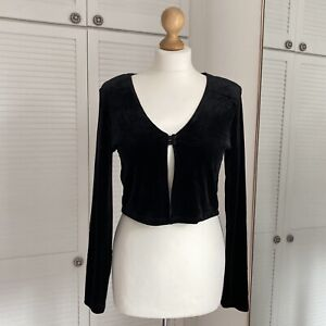 Status Collection Vintage Shrug Size Medium Velvet Crop Cardigan Bolero 90s Y2K