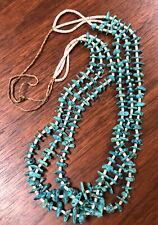 "Old Santo Domingo Kingman Turquoise & Shell Heishi Bead 3 Strand Necklace 36"""
