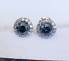 18kt Round Blue Diamonds 1.85ct  Round Cut Diamond Studs Earrings Halo