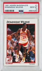 DOMINIQUE WILKINS 1991 NBA HOOPS MCDONALD'S CARD PSA GRADED GEM 10 ATLANTA HAWKS