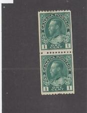 CANADA (MK3650) # 131ii VF-MNH/1H 1cts KGV ADMIRAL COIL PAIR /BLUE GREEN CAT $96