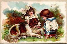 St Bernard Dog Pulls Victorian Boy & Girl - VINTAGE - Postcard