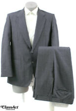 """Austin Manor Gray Striped Wool Poly Blend Men's 2 Btn Suit 42R Flat Fronts 35"""" W"""
