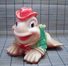 1955 Vintage Sun Rubber Co. Squeaky Vinyl Cartoon Frog Bath Toy WORKING SQUEAKER