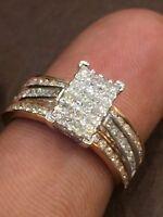 Pave 1,09 Cts Princess Runde Cut Natürliche Diamanten Jahrestag Ring In 14K Gold