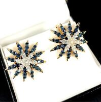 RARE 1966 CROWN TRIFARI SAPPHIRE RHINESTONE STARFLIGHT FIREWORKS CLIP EARRINGS