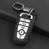 For FORD Carbon Fiber Car Key Fob Chain Hard Shell Cover Case Holder Accessories