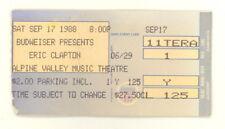 ERIC CLAPTON AUTHENTIC TICKET STUB ALPINE VALLEY MUSIC THEATER 9/17/1988 (508)