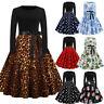 Women Vintage Leopard Print Tunic Long Sleeve Evening Party Swing Dress Plus Xma