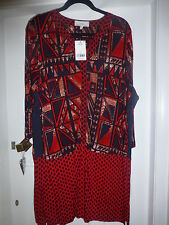 BNWT NEXT RED MIX V NECK 3/4 SLEEVE SHIFT DRESS WITH SPARKLE SIZE 24