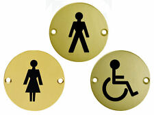 """Set of 3 Polished BRASS WC Toilet Door Signs 3"""" MALE FEMALE DISABLED Symbol"""