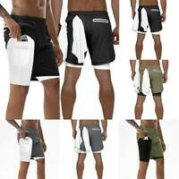 Men's 2 in 1 Running Shorts Quick Drying Sports Pants With Pockets Pack Phone