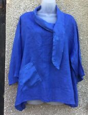 BNWT OBSESSION MADE IN ITALY LINEN SMOCK TOP PLUS SIZE CORNFLOWER BLUE