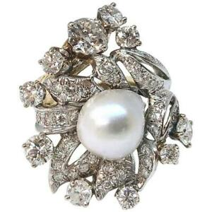 South Sea Pearl and 2.2 Carats of Diamonds 18K Gold Cocktail Ring