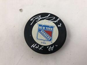 BRAD PARK #2 HOF 1988 AUTO Autograph Signed NHL Hockey New York Rangers Puck #9