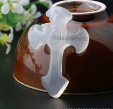 CHINESE Icy white JADE PENDANT Cross Lucky Pendants + free Necklace