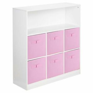 Wooden White 7 Cubed Cupboard Storage Unit Shelves 6 Light Pink Drawers Baskets