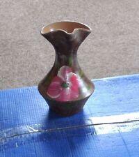 Blumenvase, Ton, handgemalt, mit Henkel, handgefertigt, ohne Beschädigung