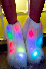 NEW NIB CURRENT MOOD WHITE FUR LIGHT UP FLASH/SOLID PLATFORM BOOTS SIZE 5 35